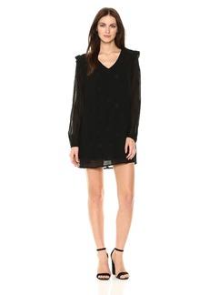 Michael Stars Women's Star Embroidered Georgette Long Sleeve V-Neck Shift Dress  XS