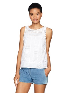 Michael Stars Women's Eyelet Crew Neck Shell  M