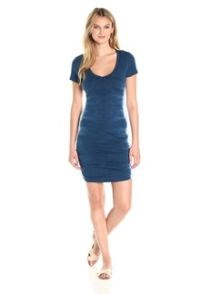 Michael Stars Women's Flame Wash Short Sleeve Vee Neck Dress  XS