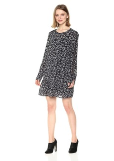 Michael Stars Women's Floral Romance Long Sleeve Flounce Dress with Lace  S