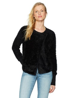 Michael Stars Women's Fluffy Knit Front-to-Back Sweater with Snap Closure  S
