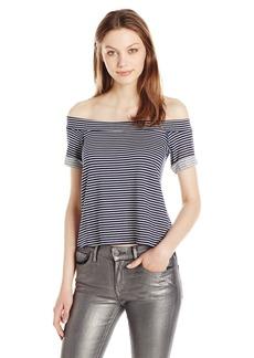 Michael Stars Women's French Terry Stripe Off The Shoulder Sweatshirt  S