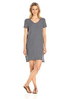Michael Stars Women's French Terry Stripe Short Sleeve Sweatshirt Dress  L