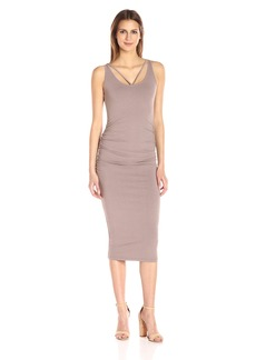 Michael Stars Women's Front to Back Midi Dress with Shirring  L