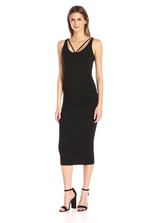 Michael Stars Women's Front to Back Midi Dress with Shirring  M