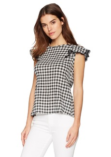 Michael Stars Women's Gingham Gauze Front-to-Back Blouse  S