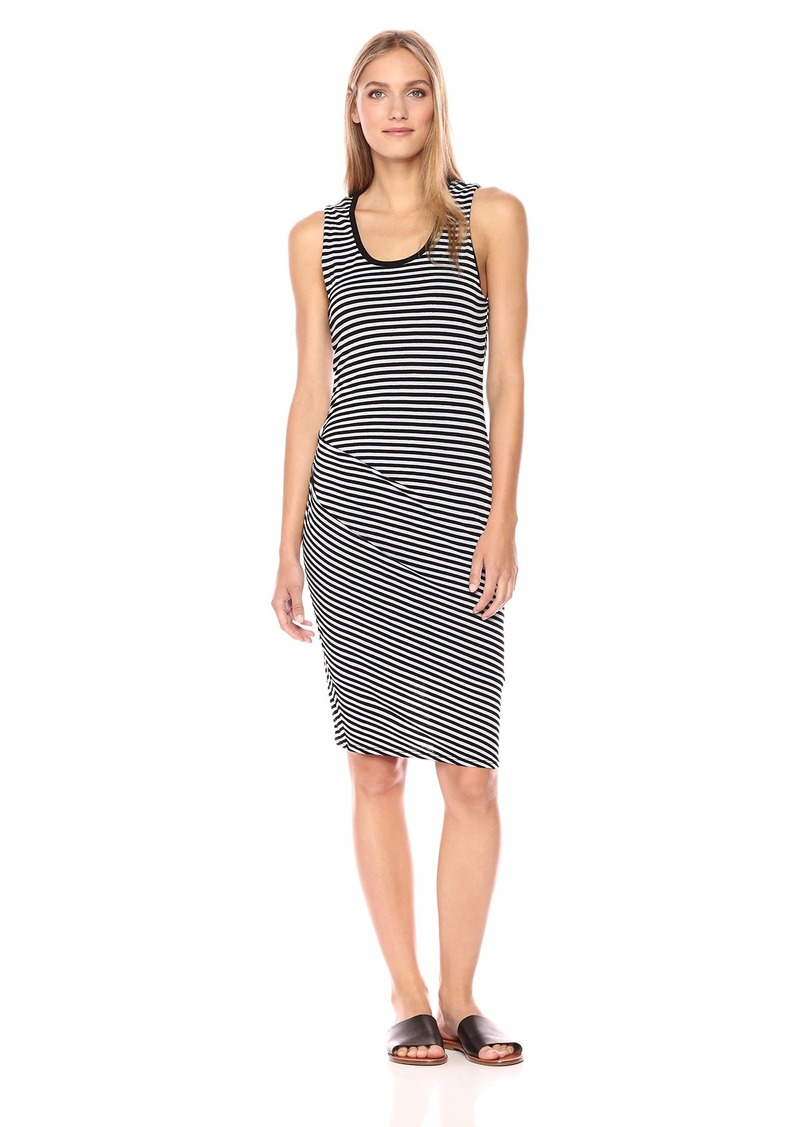 Michael Stars Women's Jackie Stripe Sleeveless Dress with Side Shirring  M