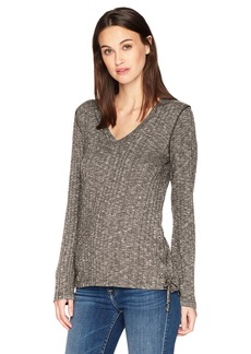 Michael Stars Women's Jasper Poorboy Long Sleeve V-Neck Laced Side Top Whisper O/S