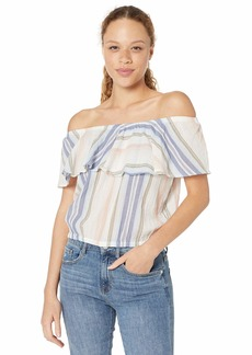 Michael Stars Women's Jordy Prairie Stripe Multi-Wear Flounce Top Stonewash Extra Small