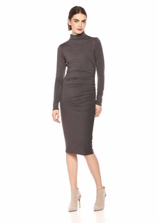 Michael Stars Women's Jules Jersey Long Sleeve Mock Neck Midi Dress