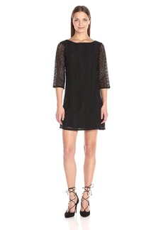 Michael Stars Women's Lace 3/4 Sleeve Shift Dress  L