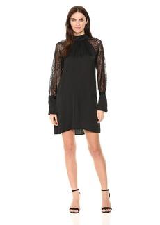 Michael Stars Women's Lace Mix Long Sleeve Shift Dress  L