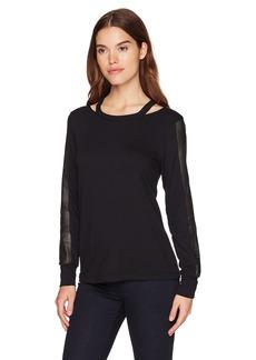 Michael Stars Women's Leather Mix Long Sleeve Cut Out Sweatshirt  M