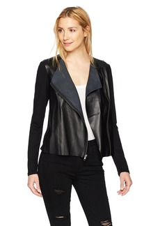 Michael Stars Women's Leather Mix Zip Moto Jacket  L