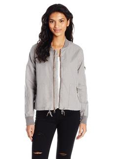 Michael Stars Women's Linen Cotton Blend Bomber Jacket  M