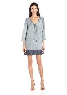 Michael Stars Women's Linen Denim Tencel Raw Hem Lace up Dress  M