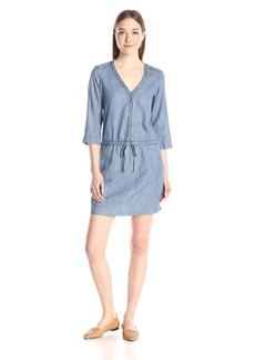 Michael Stars Women's Linen Denim Tencel Shirt Dress  Wash