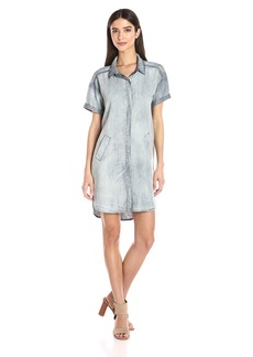 Michael Stars Women's Linen Denim Tencel Short Sleeve Shirt Dress  S