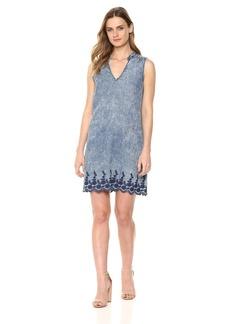Michael Stars Women's Linen Denim Tencel Sleeveless Dress with Back Lace up  L