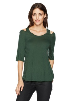 Michael Stars Women's Luxe Slub Scoop Neck 3/4 Sleeve Peek-a-Boo Tee