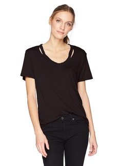 Michael Stars Women's Luxe Slub Short Sleeve U-Neck Cut Out Tee  O/S