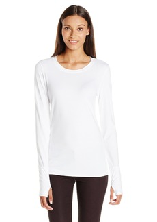 Michael Stars Women's Lycra Long Sleeve Crew Neck Top with Thumbholes
