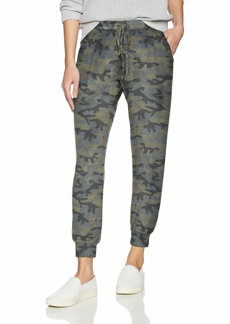Michael Stars Women's Madison Brushed camo Pull on Pant with Drawstring  Extra Small
