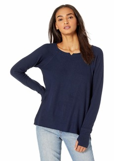 Michael Stars Women's Madison Brushed Jersey Long Sleeve Notch Neck top  Extra Small