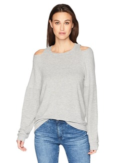 Michael Stars Women's Madison Brushed Jersey Long Sleeve Open Neck Top  M