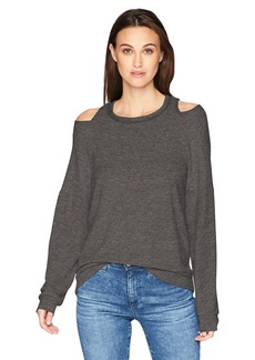 Michael Stars Women's Madison Brushed Jersey Long Sleeve Open Neck Top  XS