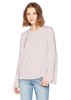 Michael Stars Women's Madison Brushed Jersey Open Neck Bell Sleeve Top  M