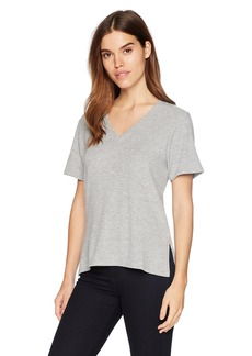 Michael Stars Women's Madison Brushed Jersey Short Sleeve v-Neck with Side Slits  XS