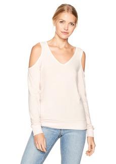 Michael Stars Women's Madison Brushed Jersey V-Neck Cold Shoulder Sweatshirt  L