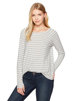Michael Stars Women's Madison Brushed Stripe Long Sleeve Notch Neck Hi-Low Top  XS