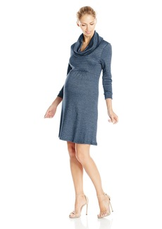 Michael Stars Women's Maternity Shine 3/4 Sleeve Cowl Neck Dress