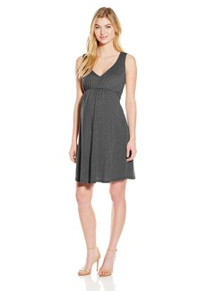 Michael Stars Women's Maternity Shine Sleeveless Vee Neck Dress