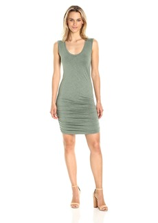 Michael Stars Women's Mavie Slub Jersey Sleeveless Dress With Shirring  L