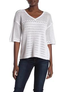 Michael Stars Women's Mesh Knit Lexi Elbow Sleeve v-Neck Sweater