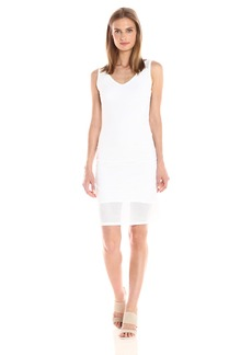 Michael Stars Women's Mesh Vee Neck Dress with Shirring  L