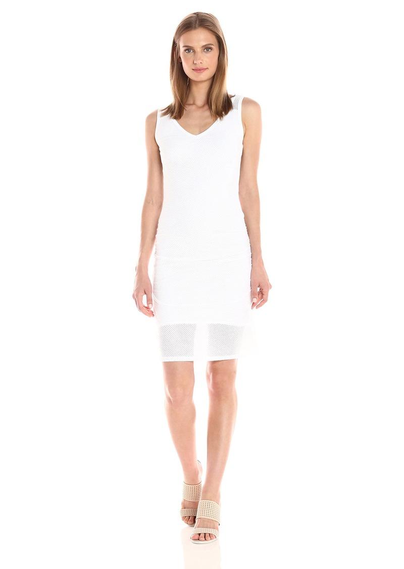 Michael Stars Women's Mesh Vee Neck Dress with Shirring  L