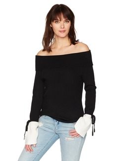 Michael Stars Women's Mixed Stitch Long Sleeve Off-The-Shoulder Sweater  XS