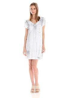 Michael Stars Women's Nautical Wash Short Sleeve Dress with Pocket  L