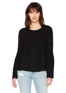 Michael Stars Women's Novelty Knit Bell Sleeve Round Neck Top  L