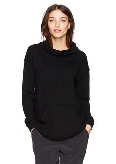 Michael Stars Women's Perforated Terry Crossed Cowl Neck Sweatshirt  S