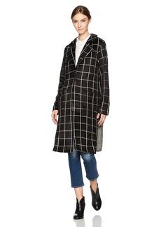Michael Stars Women's Plaid Long Sleeve High Slit Coat  XS