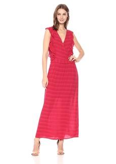 Michael Stars Women's Plisse Stripe Ruffle Maxi Dress  M