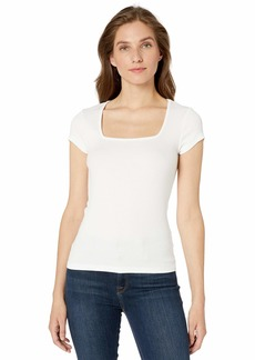 Michael Stars Women's Presley Rib Square Neck Tee  Extra Small
