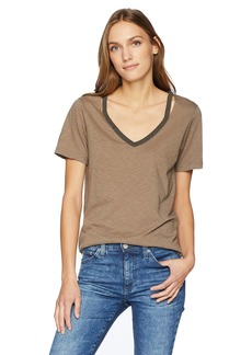 Michael Stars Women's Ringer Tees Short Sleeve v-Neck with Cut Outs