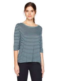 Michael Stars Women's Riviera Stripe Elbow Sleeve Crew Neck Swing Tee