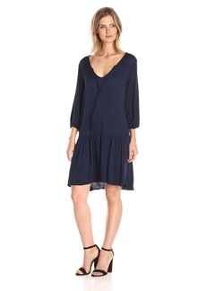 Michael Stars Women's Romy Rayon 3/4 Sleeve Drop Waist Dress